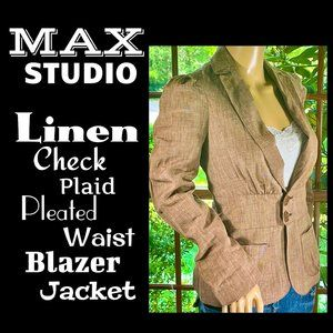 🆕MAX STUDIO▪️Linen Check Plaid Blazer Jacket